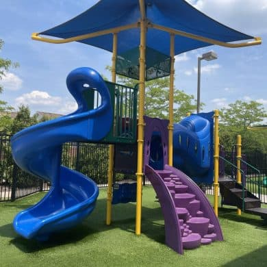Outside we have playground turf for a soft and safe outdoor environment!