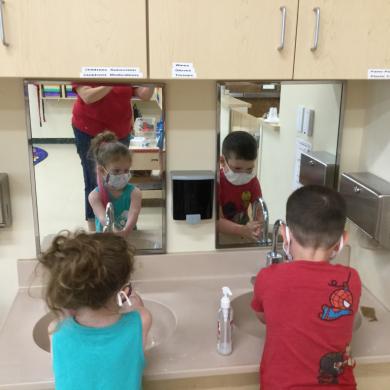 The Pre-school has hand washing down.