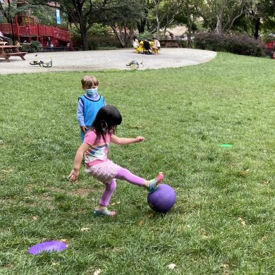 We love going outside, especially when we get to play kickball!