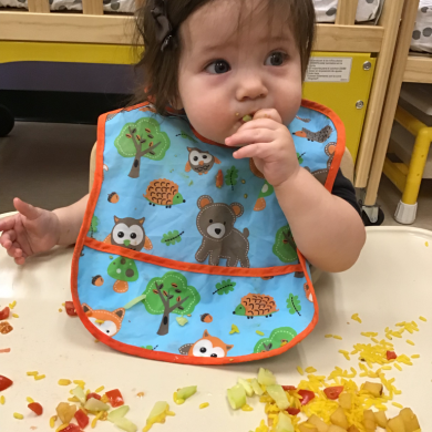 We work with parents when their child is starting finger foods to expose them to all different foods! Even before they start finger foods we make homemade purees of fruits and vegetables for our babies to eat.