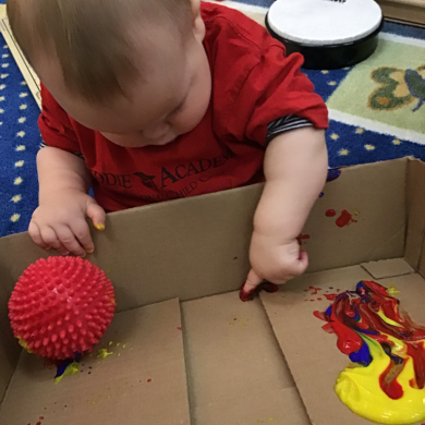 In our infant classroom, the children are always having new and exciting sensory experiences!