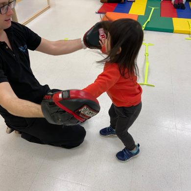 Playing the high five game with Mr. Alex, during our enrichment program, is the best! We really have to use our hand-eye coordination to see where his hand is going next in order to give him a high five!