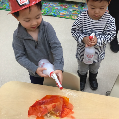 Our community helpers working hard to put out the fires in the classroom!