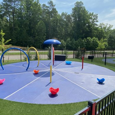 On those warm summer days the children love playing and learning  on our splash pad water park