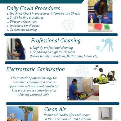 We have invested into technology to ensure our school is sanitized daily for the safety of our children.