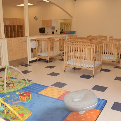 Infant room Sleep Play area separated by Play area.