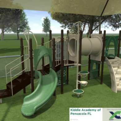 Beautiful playground complete with padded turf.