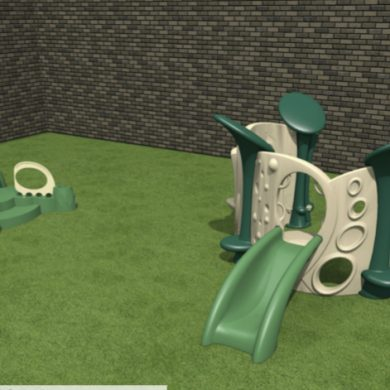 Infant playground complete with padded turf.