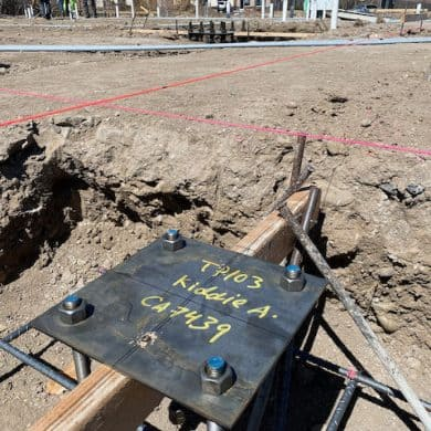 Steel footings marked for Kiddie Academy of South Reno