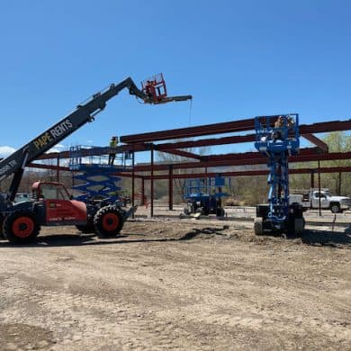 Lifting the front beam into position