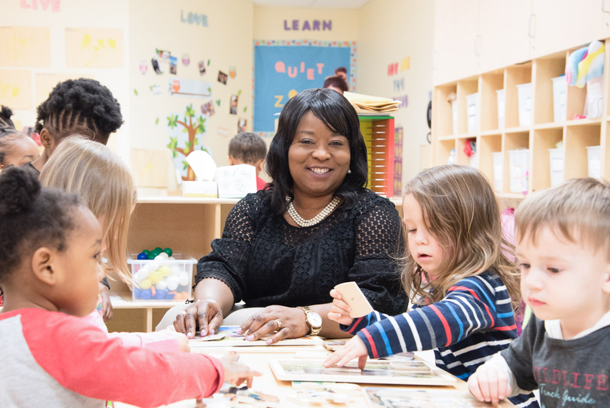 Kiddie Academy of Odenton owner with students