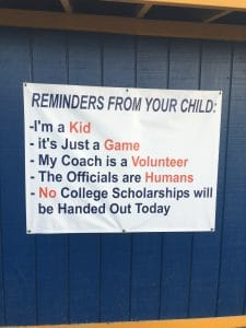 Kiddie Academy's Director of Education Quality, Heather Schorah has two boys in little league baseball currently and took this picture of a sign hanging near the field they play at.