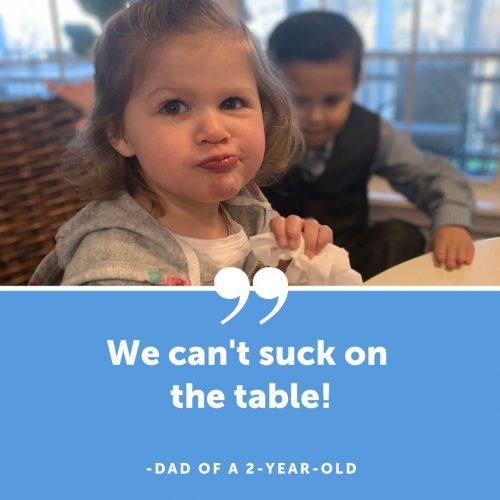 sucking on table
